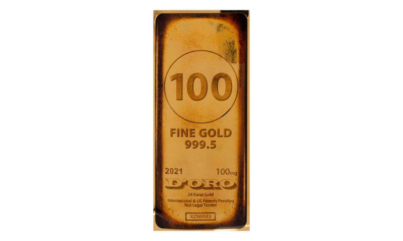 100mg Gold Bar Obverse Photo - Valaurum, Inc.